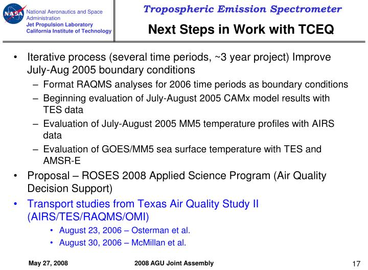 Next Steps in Work with TCEQ