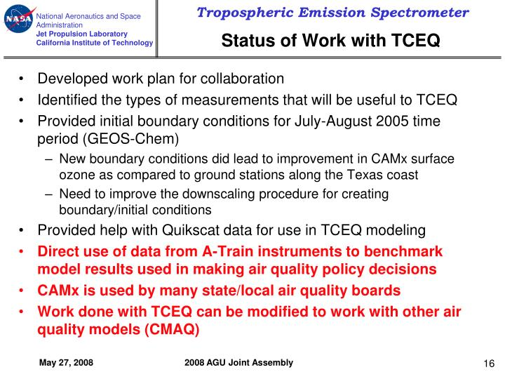Status of Work with TCEQ