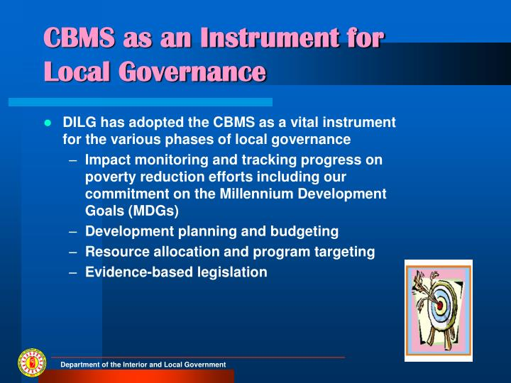 Cbms as an instrument for local governance