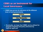 cbms as an instrument for local governance1