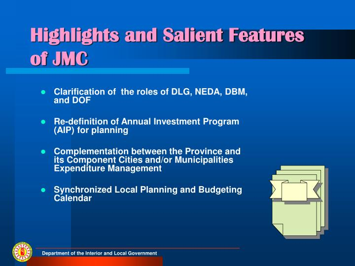 Highlights and Salient Features of JMC