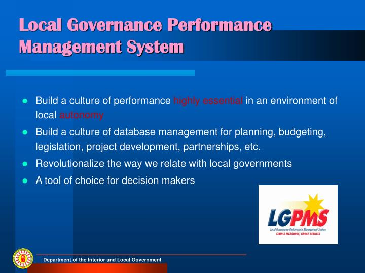 Local Governance Performance Management System