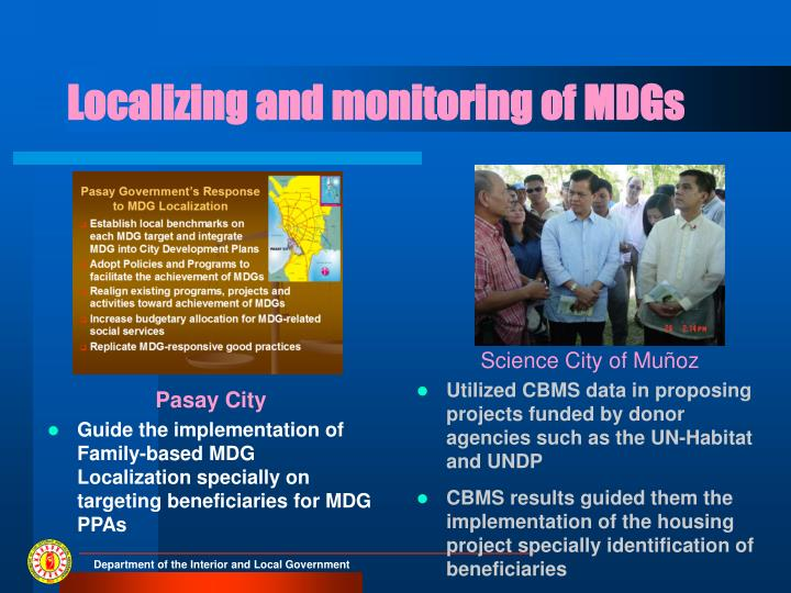 Localizing and monitoring of MDGs