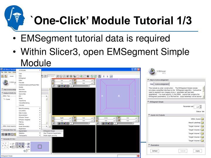`One-Click' Module Tutorial 1/3