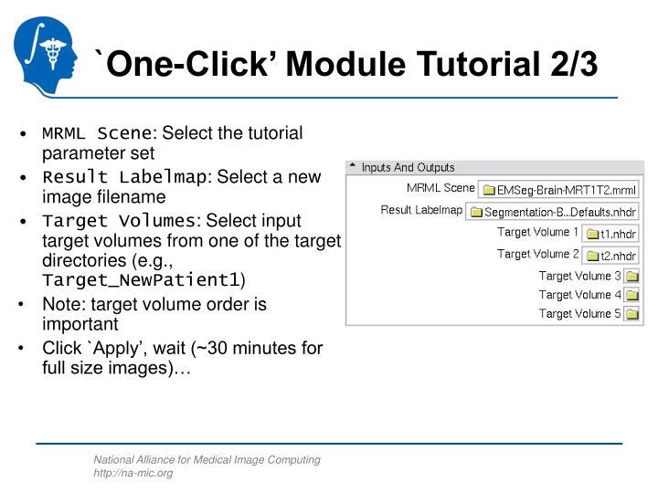 `One-Click' Module Tutorial 2/3