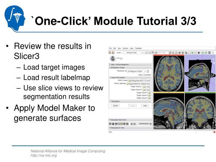 `One-Click' Module Tutorial 3/3