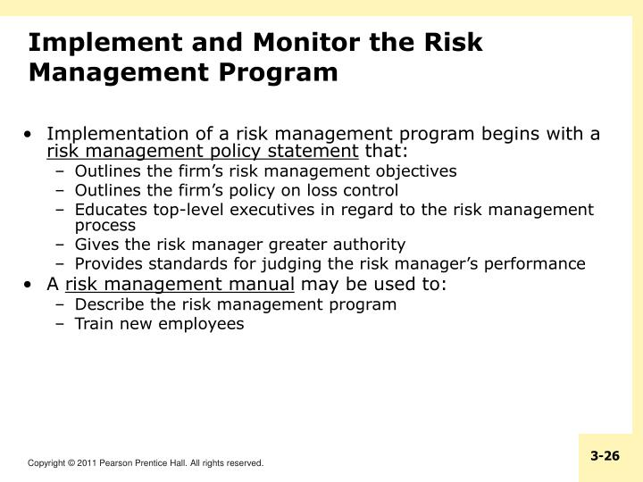 Implement and Monitor the Risk Management Program