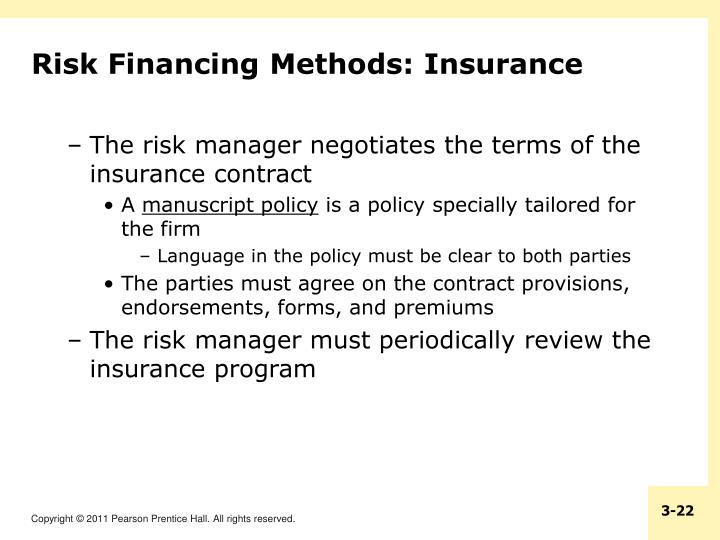 Risk Financing Methods: Insurance
