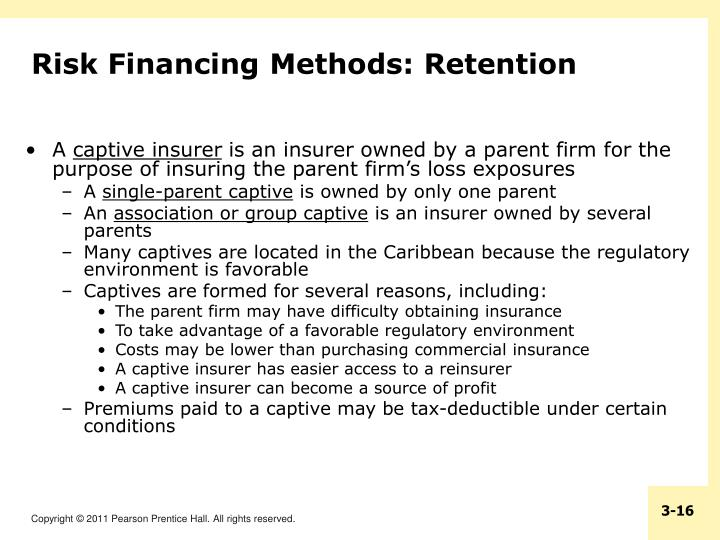 Risk Financing Methods: Retention