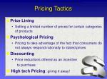 pricing tactics