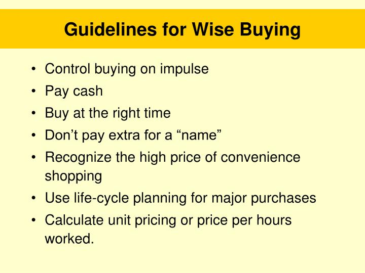 Guidelines for Wise Buying
