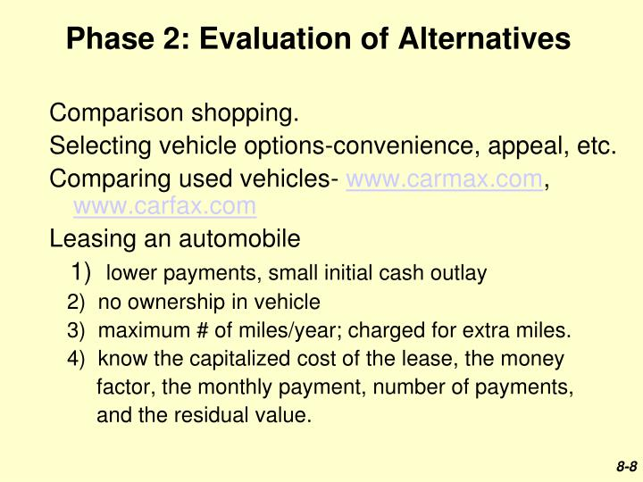 Phase 2: Evaluation of Alternatives