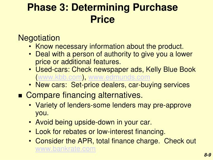 Phase 3: Determining Purchase Price