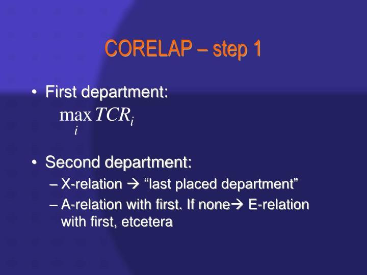 CORELAP – step 1