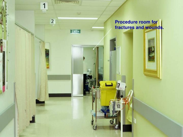 Procedure room for fractures and wounds.