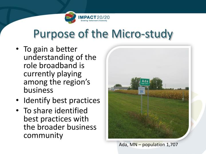 Purpose of the Micro-study