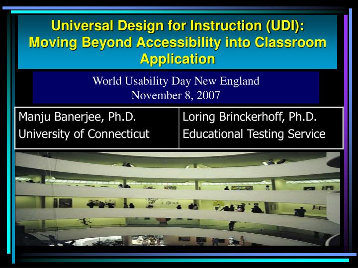 Universal Design for Instruction (UDI):
