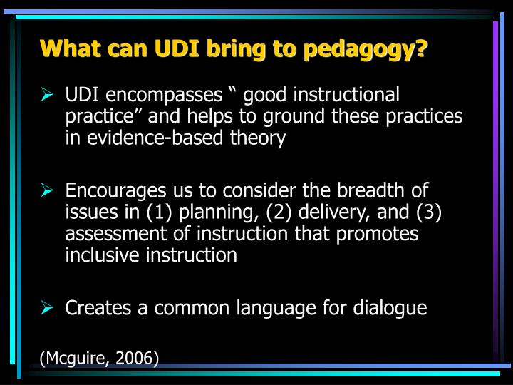 What can UDI bring to pedagogy?