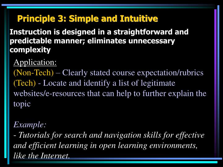Principle 3: Simple and Intuitive