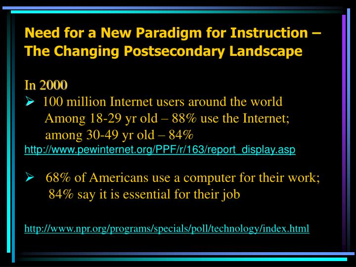 Need for a New Paradigm for Instruction –