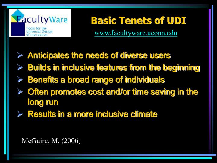 Basic Tenets of UDI