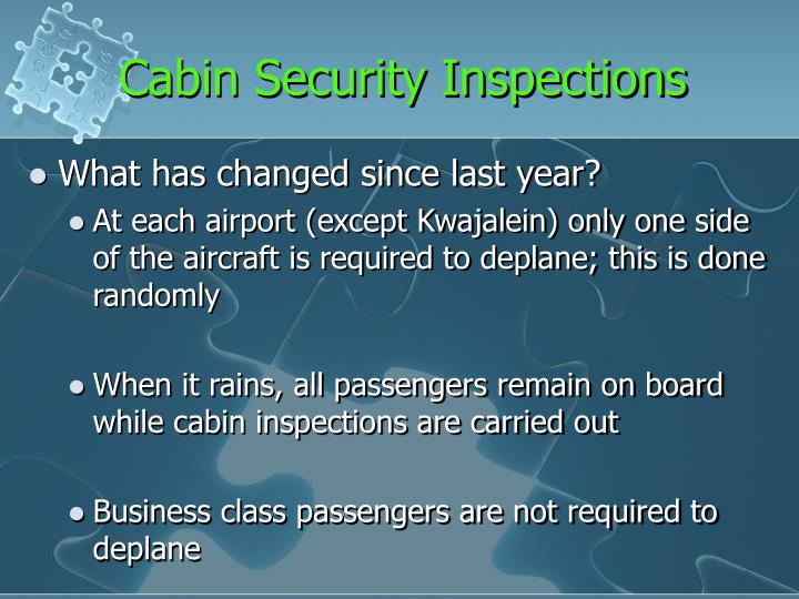 Cabin Security Inspections