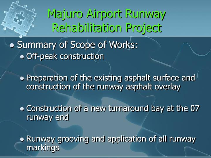 Majuro Airport Runway Rehabilitation Project