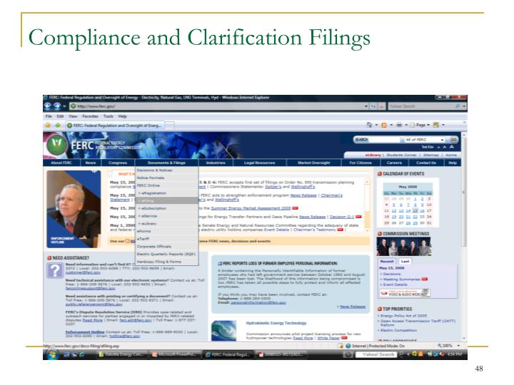 Compliance and Clarification Filings