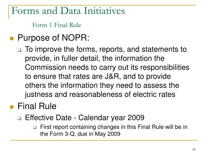 Forms and Data Initiatives