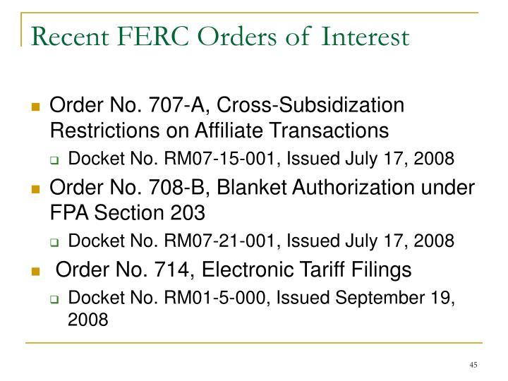 Recent FERC Orders of Interest