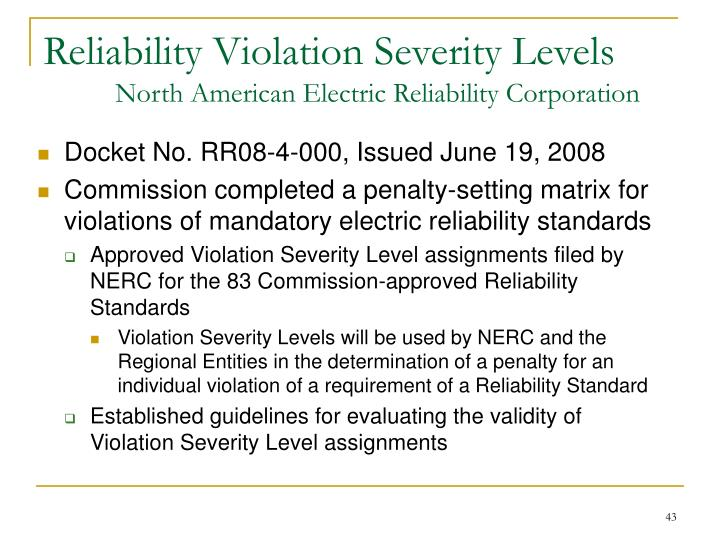 Reliability Violation Severity Levels