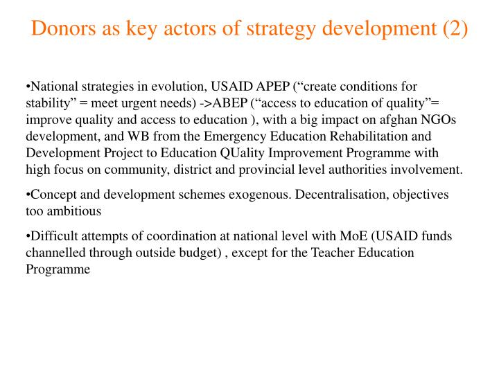 Donors as key actors of strategy development (2)