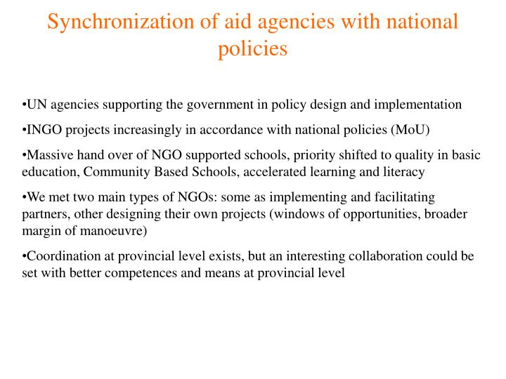 Synchronization of aid agencies with national policies