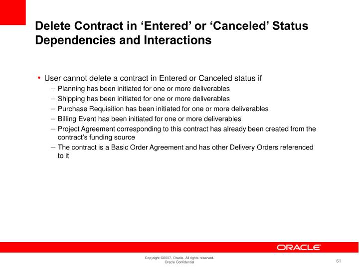 Delete Contract in 'Entered' or 'Canceled' Status