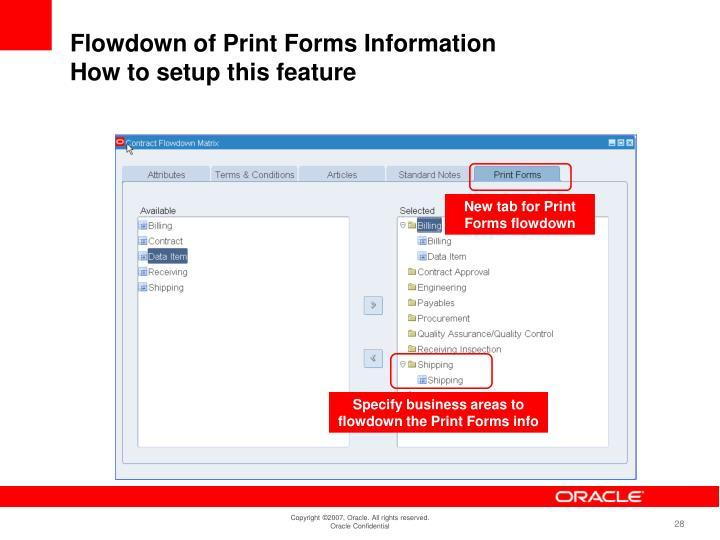 New tab for Print Forms flowdown