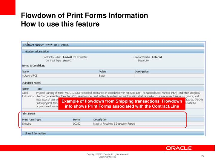 Example of flowdown from Shipping transactions. Flowdown info shows Print Forms associated with the Contract/Line