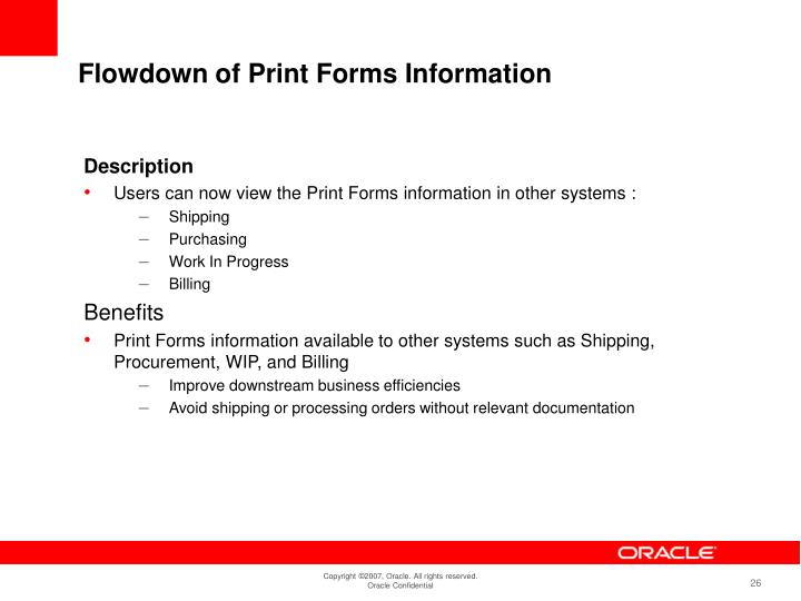 Flowdown of Print Forms Information