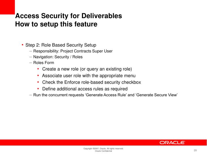 Access Security for Deliverables