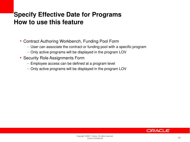 Specify Effective Date for Programs