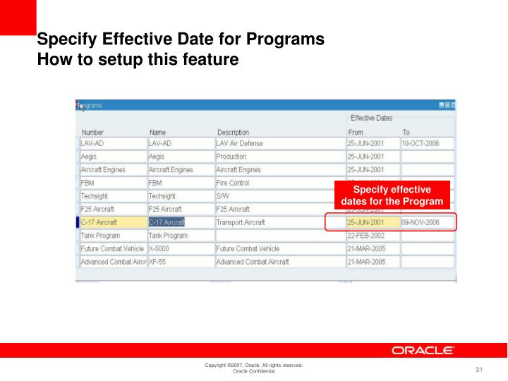 Specify effective dates for the Program