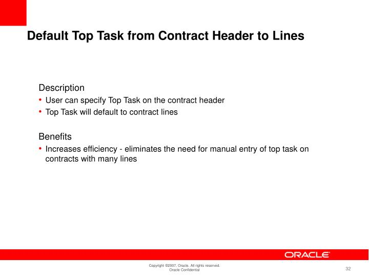 Default Top Task from Contract Header to Lines