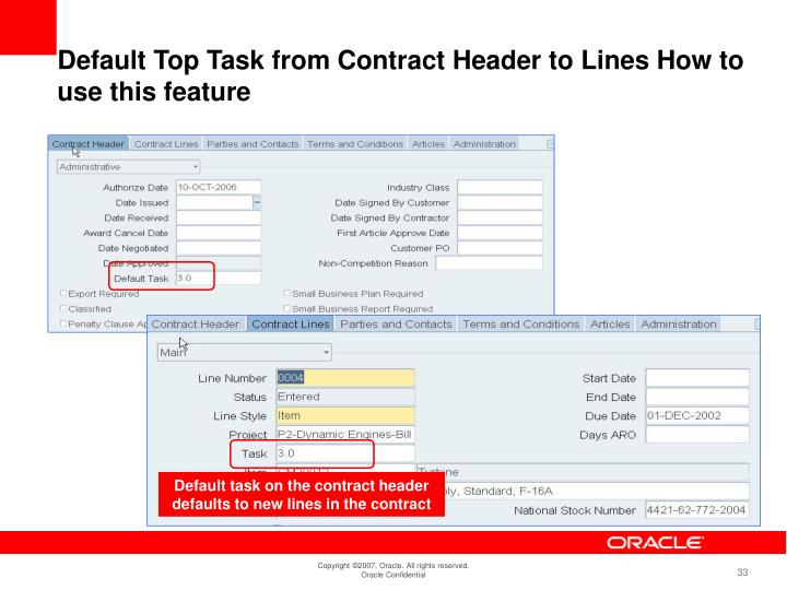 Default task on the contract header defaults to new lines in the contract