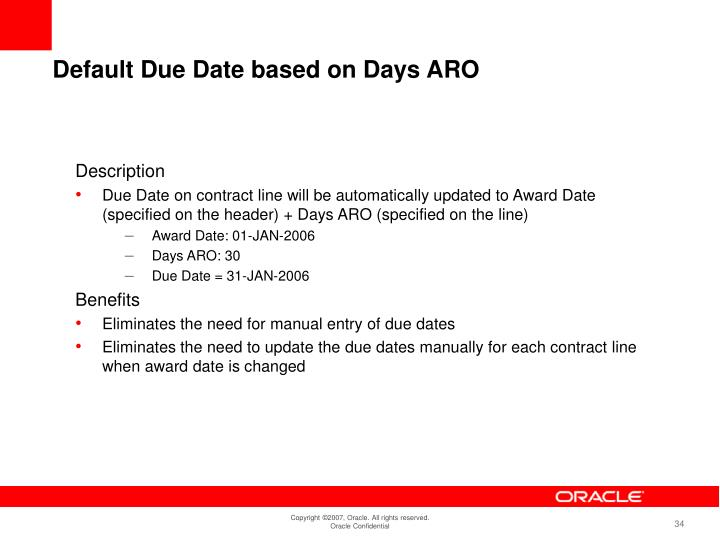 Default Due Date based on Days ARO