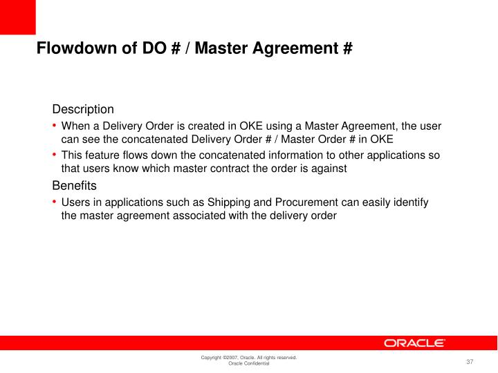 Flowdown of DO # / Master Agreement #