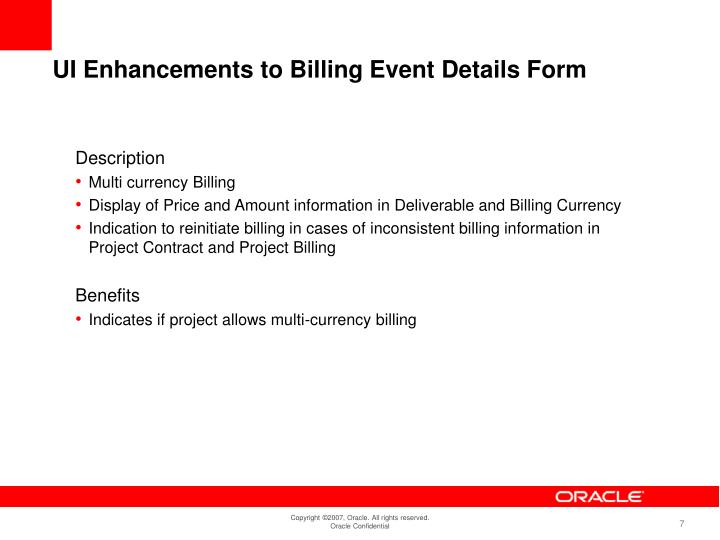 UI Enhancements to Billing Event Details Form