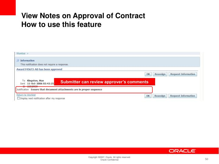 Submitter can review approver's comments