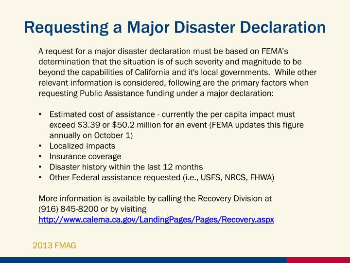 Requesting a Major Disaster Declaration