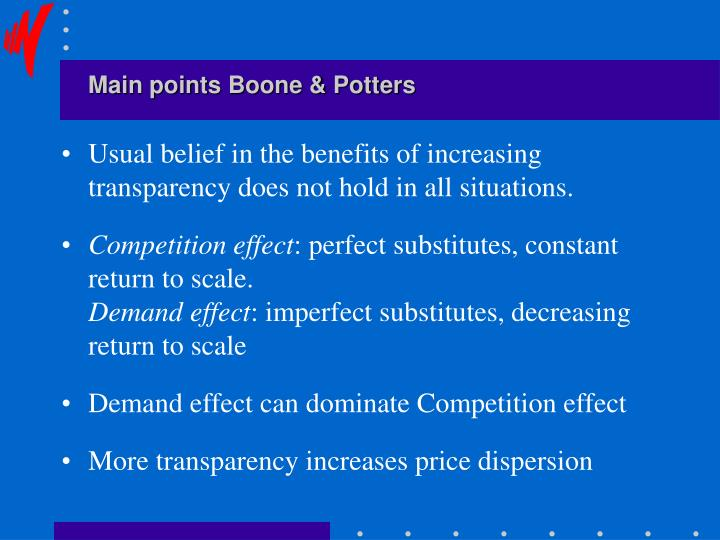 Main points Boone & Potters