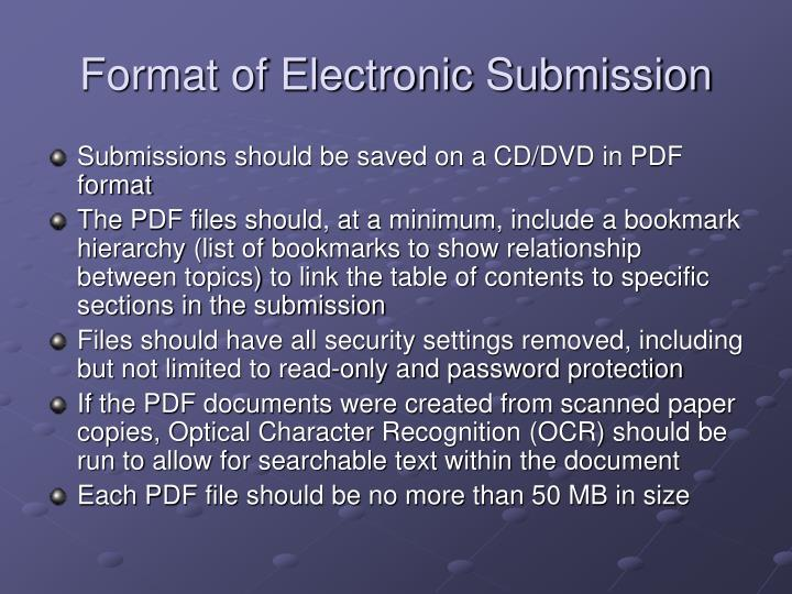 Format of Electronic Submission