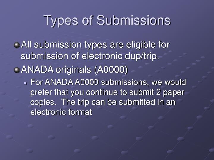Types of submissions
